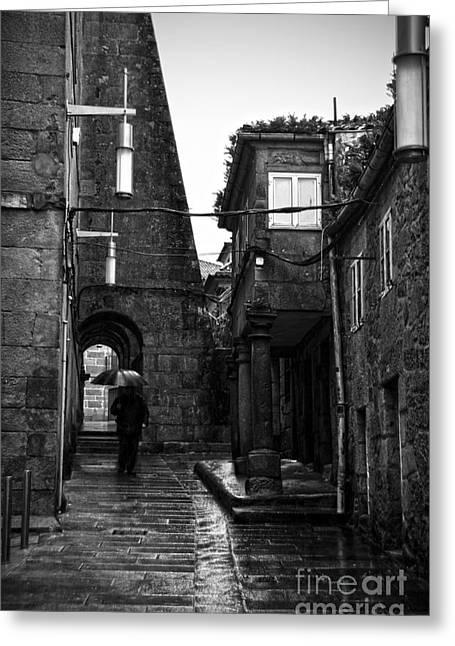 Old Narrow Street In Pontevedra Bw Greeting Card