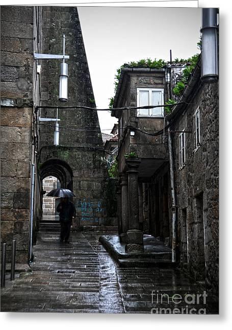 Old Narrow Street In Pontevedra Greeting Card