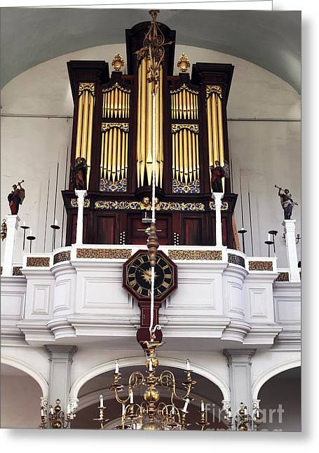 Old North Church Organ Greeting Card by John Rizzuto