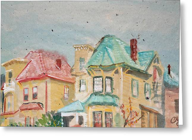 Old Oakland Houses On A Foggy Day Greeting Card by Asha Carolyn Young