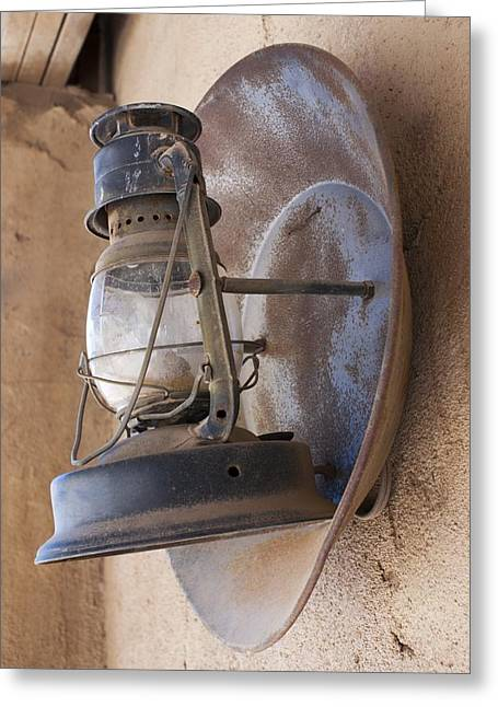Old Oil Lamp With Reflector Greeting Card by Science Photo Library
