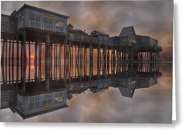 Old Orchard Pier Reflection Greeting Card by Betsy Knapp