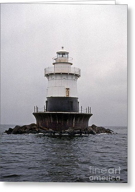 Old Orchard Shoal Lighthouse Greeting Card by Skip Willits