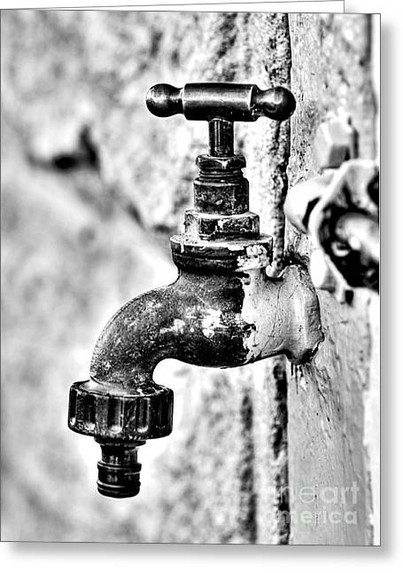Old Outdoor Tap - Black And White Greeting Card by Kaye Menner