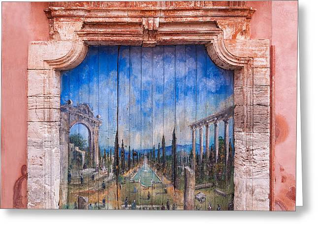 Old Painted Door Greeting Card by Michael Blanchette