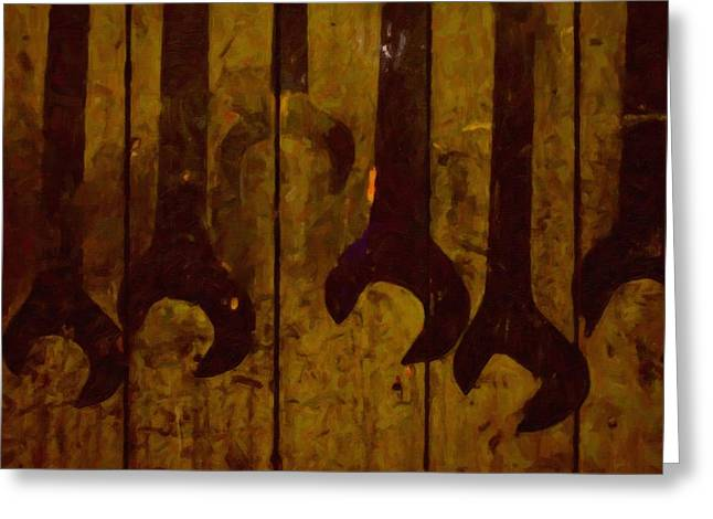 Old Painted Wrenches Greeting Card by Tommytechno Sweden