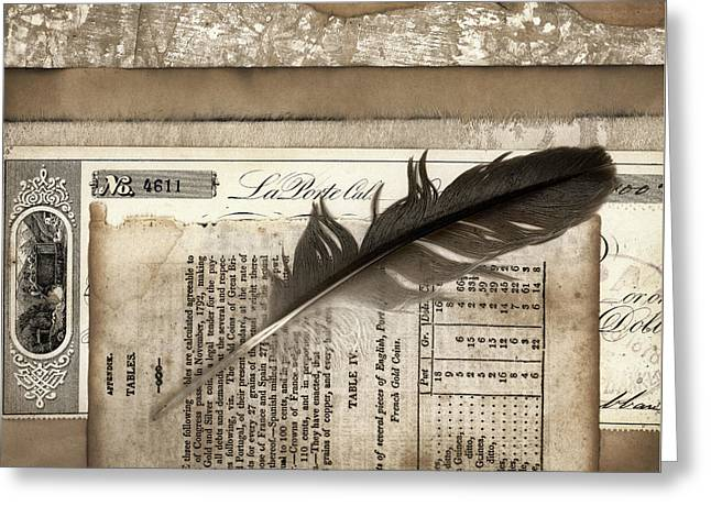Old Papers And A Feather Greeting Card