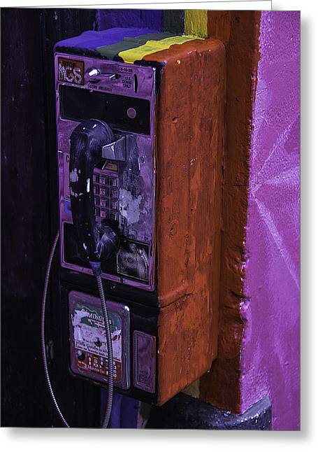 Old Pay Phone Greeting Card by Garry Gay