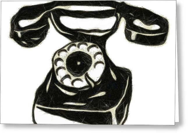 Old Phone Greeting Card by Michal Boubin