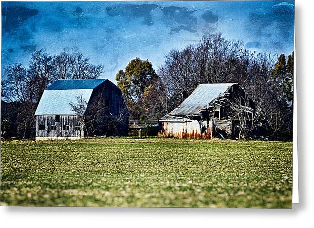 Old Photo Of Old Barn Greeting Card by Bill Swartwout