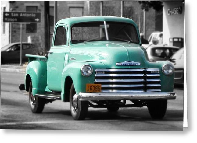 Old Pickup Truck Photo Teal Chevrolet Greeting Card