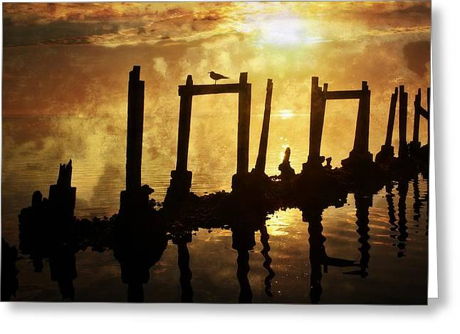 Greeting Card featuring the photograph Old Pier At Sunset by Marty Koch