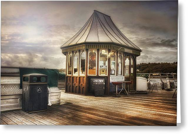 Old Pier Shop Greeting Card by Ian Mitchell