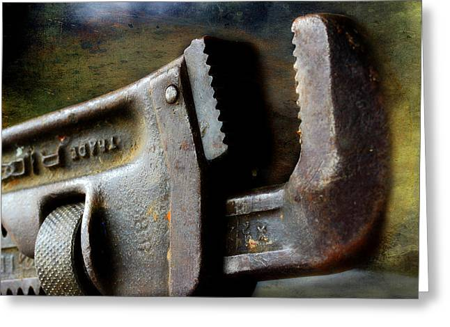 Old Pipe Wrench Greeting Card by Michael Eingle