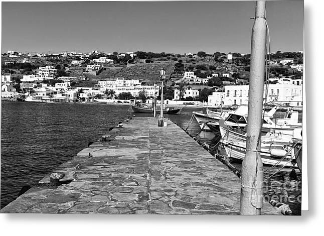 Old Port Walk In Mykonos Mono Greeting Card