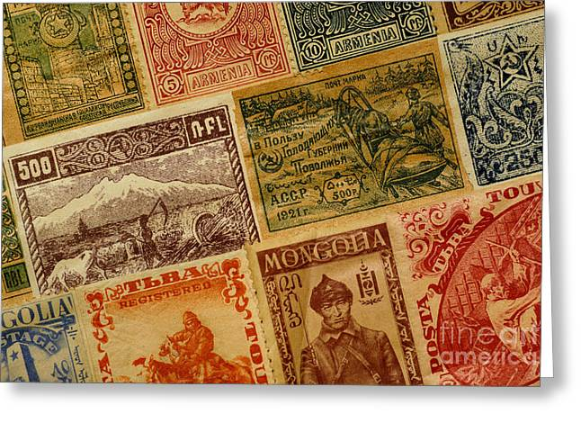 Old Postage Stamps From Around The World Greeting Card by Amy Cicconi