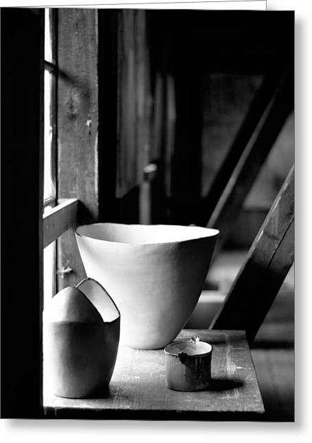 Old Pots At The Window Greeting Card by Tommytechno Sweden