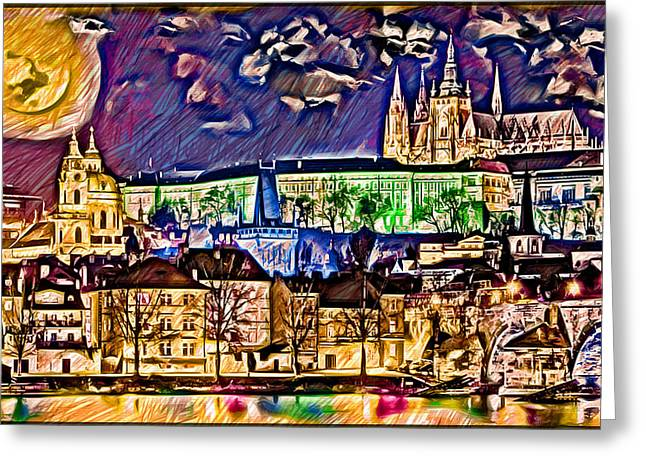 Old Prague Magic - Wallpaper Greeting Card