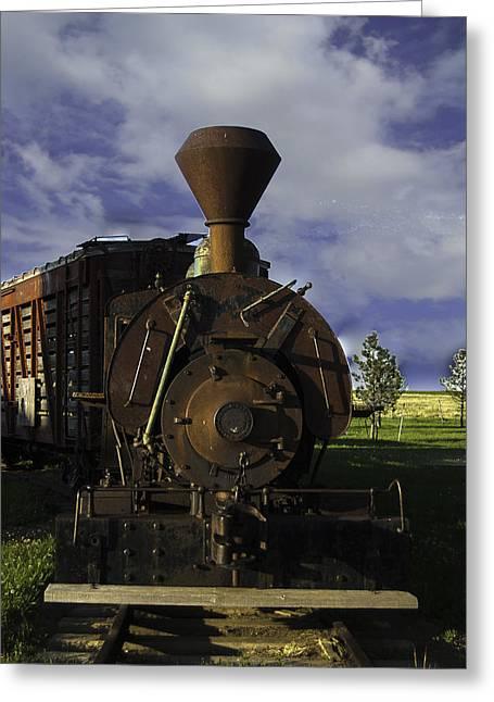 Old Prairie Train Greeting Card by Judy Hall-Folde