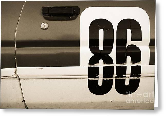 Old Racecar Number Greeting Card by Grigorios Moraitis