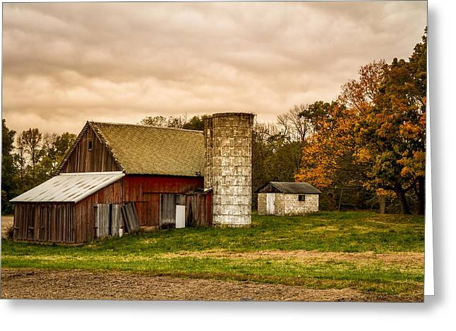 Old Red Barn And Silo Greeting Card