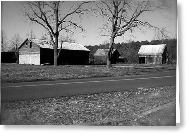 Greeting Card featuring the photograph Old Red Barn In Black And White by Amazing Photographs AKA Christian Wilson