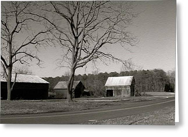 Old Red Barn In Black And White Long Greeting Card by Amazing Photographs AKA Christian Wilson