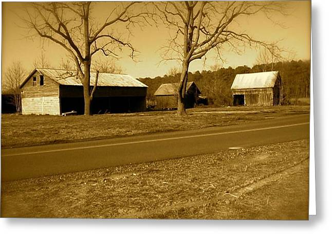 Old Red Barn In Sepia Greeting Card by Amazing Photographs AKA Christian Wilson