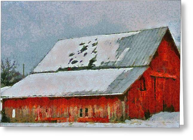 Old Red Barn In Winter Greeting Card by Dan Sproul