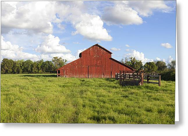 Greeting Card featuring the photograph Old Red Barn by Mark Greenberg