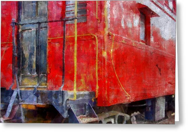 Old Red Caboose Greeting Card by Michelle Calkins