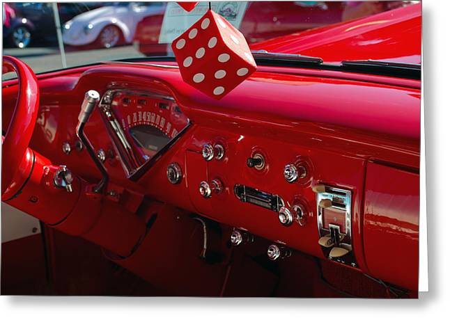 Greeting Card featuring the photograph Old Red Chevy Dash by Tikvah's Hope