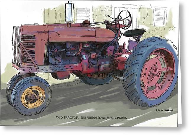 Old Red Farmall Tractor Greeting Card