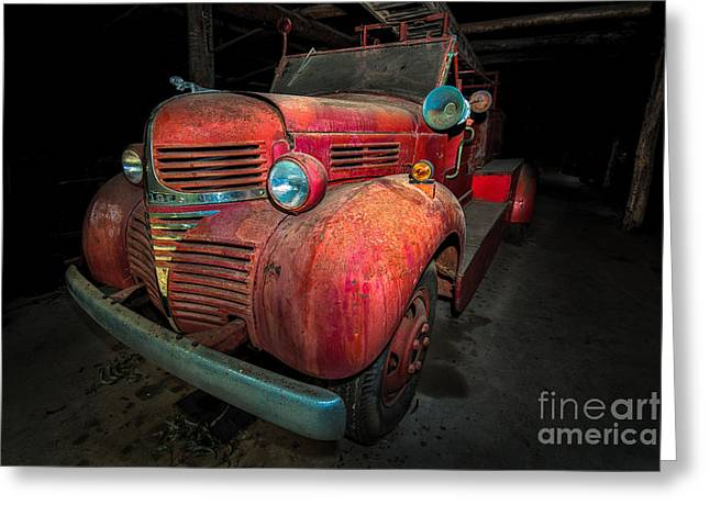 Old Red Fire Engine Greeting Card