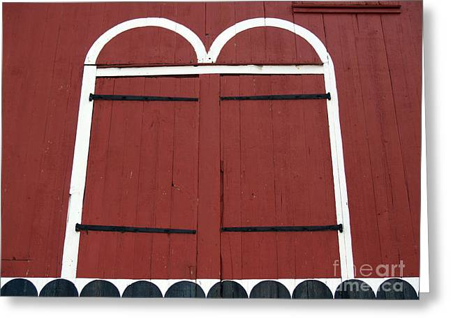 Old Red Kutztown Barn Doors Greeting Card by Anna Lisa Yoder