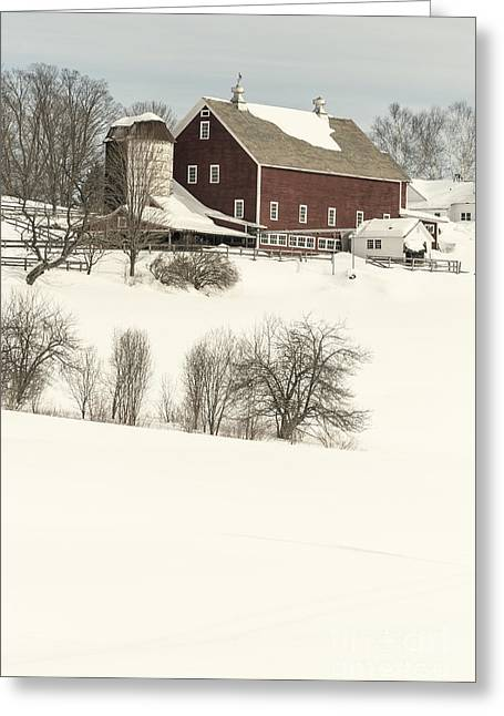 Old Red New England Barn In Winter Greeting Card by Edward Fielding