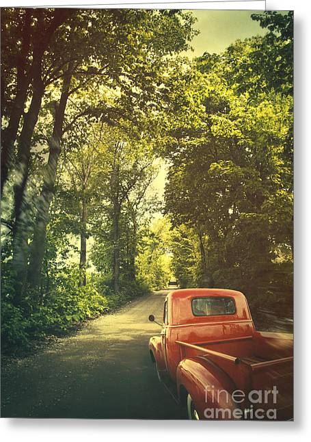 Old Red Pickup Truck Driving On Dirt Road Greeting Card