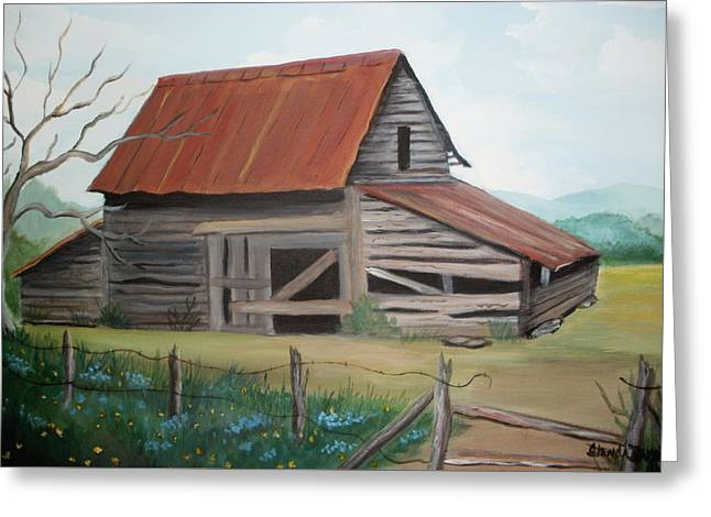 Old Red Roofed Barn Greeting Card by Glenda Barrett