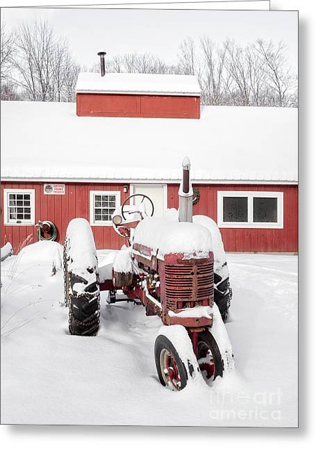 Old Red Tractor In Front Of Classic Sugar Shack Greeting Card