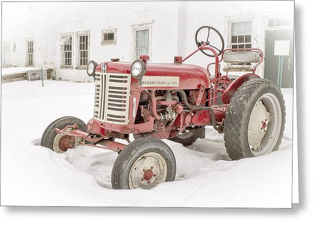 The Houses Photographs Greeting Cards - Old Red Tractor in the snow Greeting Card by Edward Fielding