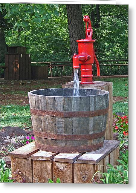 Greeting Card featuring the photograph Old Red Water Pump by Val Miller