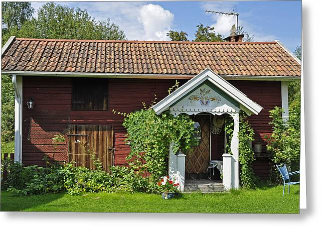 Old Red Wooden Hut Greeting Card by Conny Sjostrom