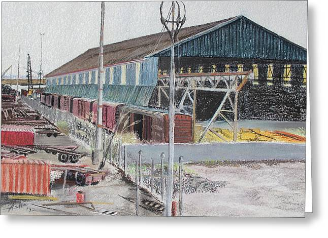 Old Resting Train And Schnitzer Steel Building Greeting Card by Asha Carolyn Young