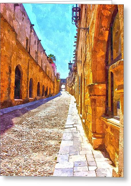 The Old Rhodes Town Greeting Card by Scott Carruthers