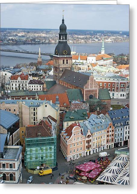 Old Riga City Roofs Greeting Card