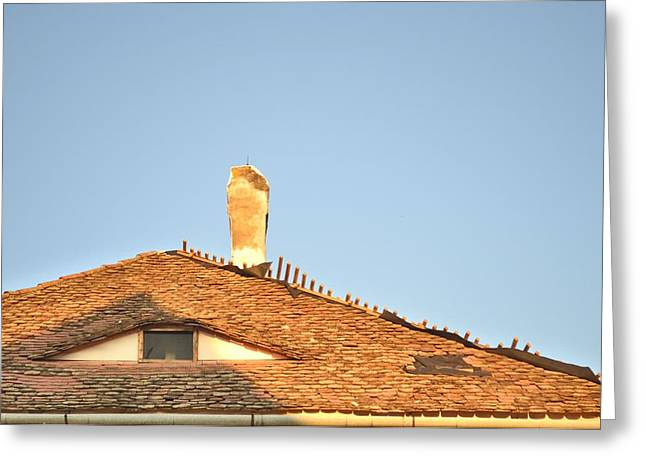 Old Roof With  A Chimney And A Triangular Attic Window Greeting Card
