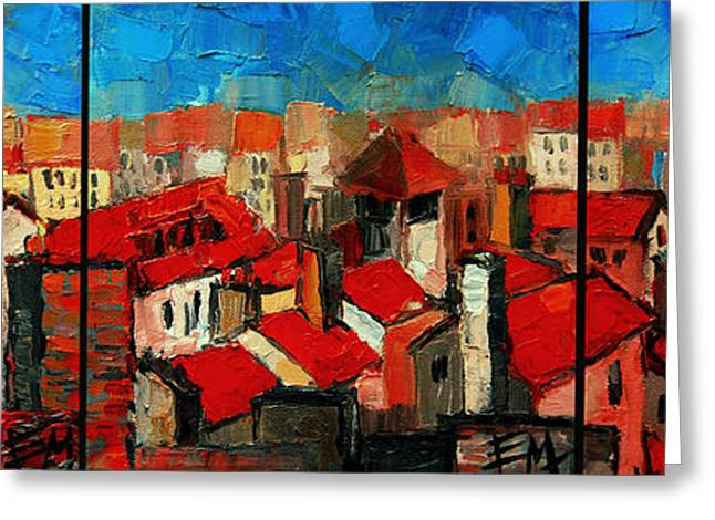 Old Roofs Of Lyon Greeting Card by Mona Edulesco