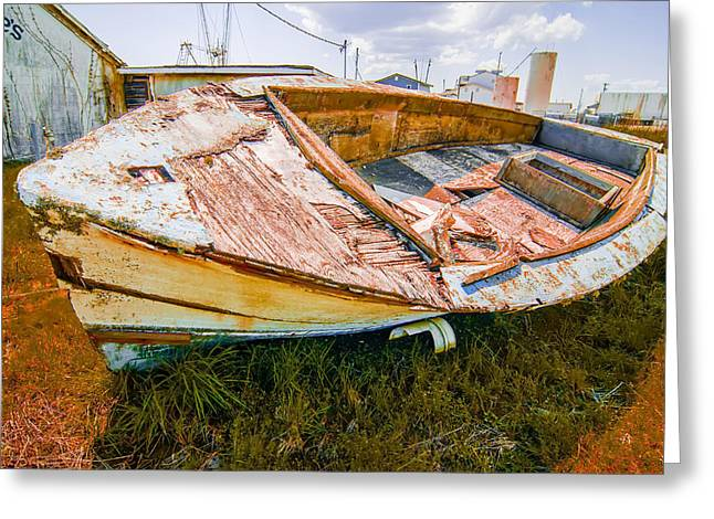 Old Rotten Abandoned Row Boat On Land Greeting Card