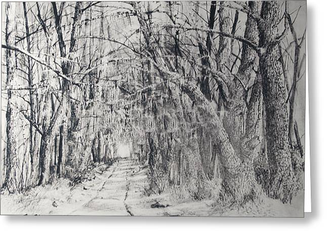 Greeting Card featuring the drawing Old Rte 101 by Jim Hubbard