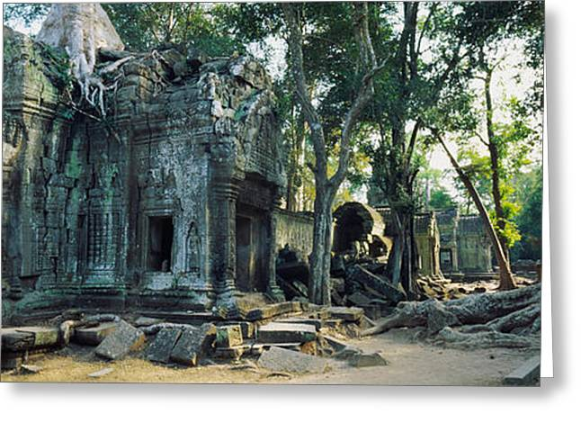 Old Ruins Of A Building, Angkor Wat Greeting Card by Panoramic Images